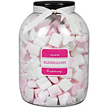 Buy Farhi Strawberry Flavoured Pink and White Marshmallow Hearts Jar, 1kg Online at johnlewis.com