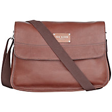 Buy Ted Baker Akerman Leather Messenger Bag, Chocolate Online at johnlewis.com