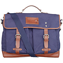Buy Ted Baker Drumlen Canvas Satchel Bag, Navy Online at johnlewis.com