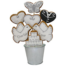 Buy Image on Food Personalised Iced Gingerbread Wedding Bouquet, 350g Online at johnlewis.com