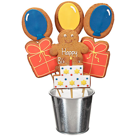 Buy Image on Food Happy Birthday Balloon Gingerbread Bouquet, 350g Online at johnlewis.com