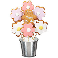 Buy Image on Food Happy Birthday Flower Gingerbread Bouquet, 350g Online at johnlewis.com