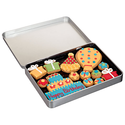 Buy Image on Food Happy Birthday Gingerbread Biscuit Tin, 150g Online at johnlewis.com