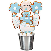 Buy Image on Food New Baby Boy Gingerbread Bouquet, Blue, 350g Online at johnlewis.com