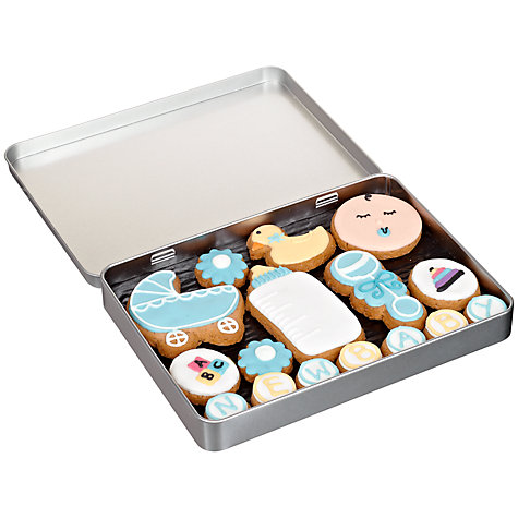 Buy Image on Food New Baby Boy Gingerbread Biscuit Tin, 150g Online at johnlewis.com