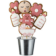 Buy Image on Food New Baby Girl Gingerbread Bouquet, Pink, 350g Online at johnlewis.com