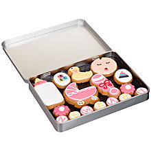 Buy Image on Food New Baby Girl Gingerbread Biscuit Tin, 150g Online at johnlewis.com
