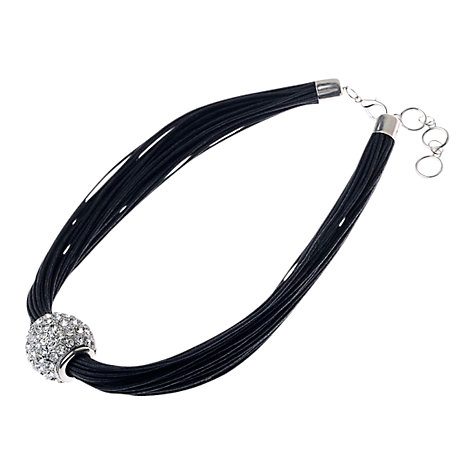 Buy Adele Marie Crystal Cord Necklace, Black / Silver Online at johnlewis.com