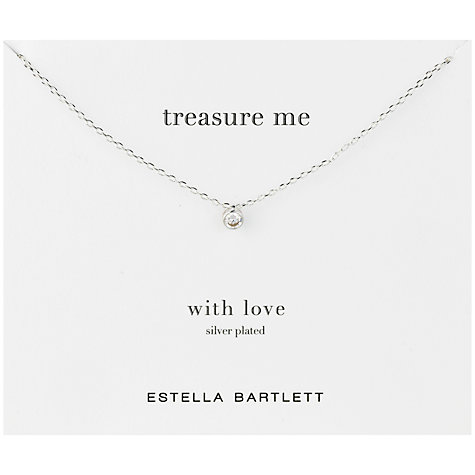 Buy Estella Bartlett Silver Plated Treasure Me Solitaire Pendant Necklace Online at johnlewis.com
