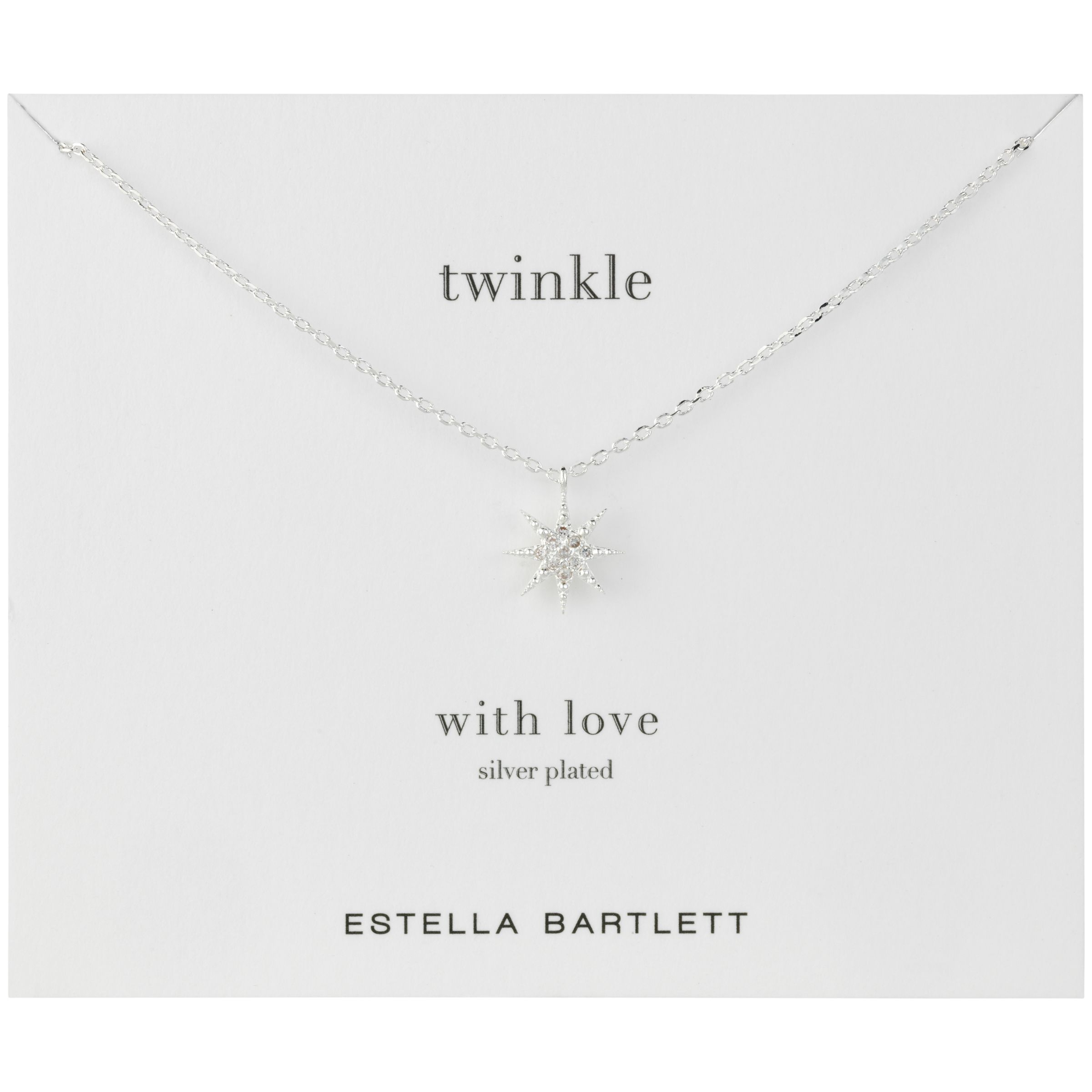 Estella Bartlett Twinkle Silver Plated Cubic Zirconia Pendant Necklace