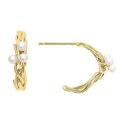 London Road Burlington Willow 9ct Gold Pearl Willow Hoop Earrings