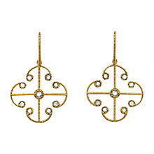 Buy London Road Lattice Drop 9ct Yellow Gold Diamond Set Earrings Online at johnlewis.com