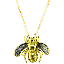 Buy London Road 9ct Yellow Gold Kew Bugs Diamond Detail Bee Pendant Necklace, Gold Online at johnlewis.com