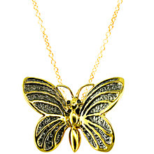 Buy London Road 9ct Yellow Gold Kew Bugs Diamond Detail Butterfly Pendant Necklace, Gold Online at johnlewis.com
