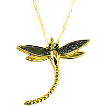 Buy London Road 9ct Yellow Gold Kew Bugs Diamond Detail Dragonfly Pendant Necklace, Gold Online at johnlewis.com