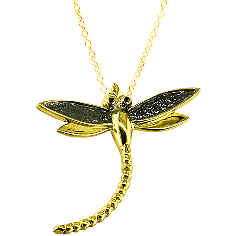 Buy London Road Kew Bugs 9ct Yellow Gold Diamond Detail Dragonfly Pendant Online at johnlewis.com