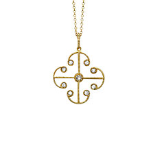 Buy London Road 9ct Yellow Gold Portobello Small Diamond Lattice Pendant Necklace, Gold Online at johnlewis.com