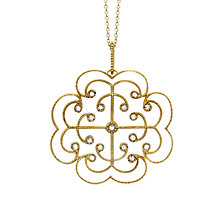Buy London Road 9ct Yellow Gold Portobello Large Diamond Lattice Pendant Necklace, Gold Online at johnlewis.com