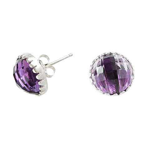 Buy Dower & Hall Sterling Silver Faceted Amethyst Ear Studs Online at johnlewis.com