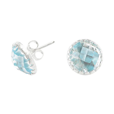 Buy Dower & Hall Sterling Silver Faceted Blue Topaz Ear Studs Online at johnlewis.com