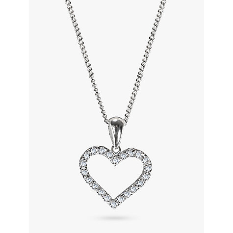Buy Nina Breddal Sterling Silver Cubic Zirconia Heart Shaped Pendant Necklace Online at johnlewis.com