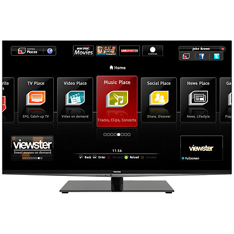 Buy Toshiba 55WL968B LED HD 1080p 3D Smart TV, 55 Inch, WiDi with Freeview HD Online at johnlewis.com