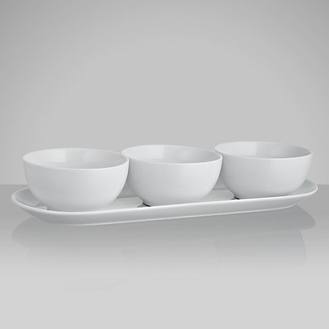 Buy House by John Lewis Porcelain Triple Dip and Tray Online at johnlewis.com