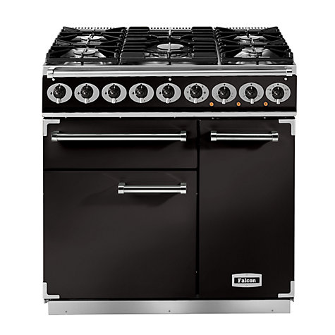 Buy Falcon 900 Deluxe Dual Fuel Range Cooker, Gloss Black Online at johnlewis.com