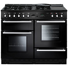 Buy Rangemaster Toledo 110 Dual Fuel Range Cooker, Gloss Black and Cooker Hood, Stainless Steel/Glass Online at johnlewis.com