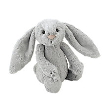 Buy Jellycat Bashful Bunny Soft Toy, Medium, Silver Online at johnlewis.com
