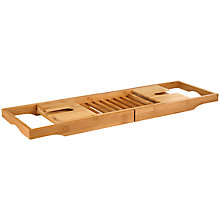 Buy John Lewis Rubberised Bamboo Bath Bridge Rack, Natural Online at johnlewis.com