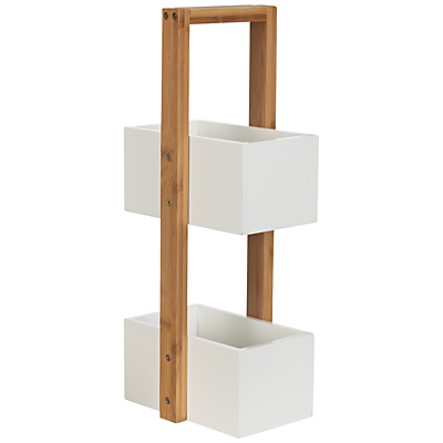 John Lewis Rubberised Bamboo 2 Tier Bathroom Caddy, Natural/White