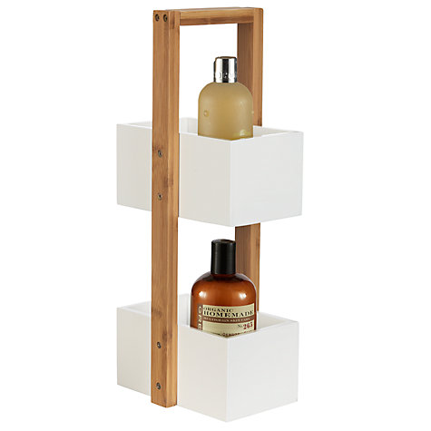Buy John Lewis Rubberised Bamboo 2 Tier Bathroom Caddy, Natural/White Online at johnlewis.com