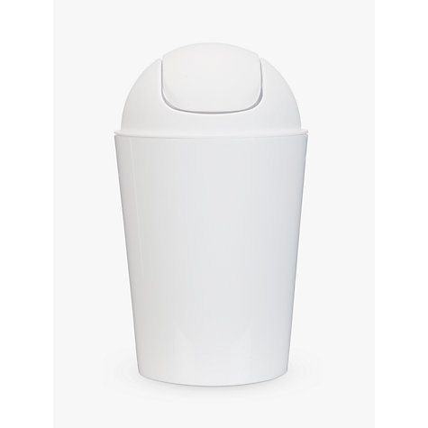 White plastic bathroom bin