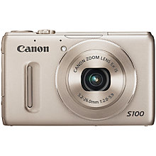 "Buy Canon PowerShot S100 Camera, HD 1080p, 12.1MP, 5x Optical Zoom, GPS, 3"" LCD Screen with Case Online at johnlewis.com"