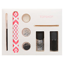 Buy TOPSHOP Nail Art Set, Black/Silver Glitter/Pearl Online at johnlewis.com