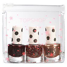 Buy TOPSHOP Nail Polish Gift, Set of 3, Dark Red/Gold/Glitter Online at johnlewis.com