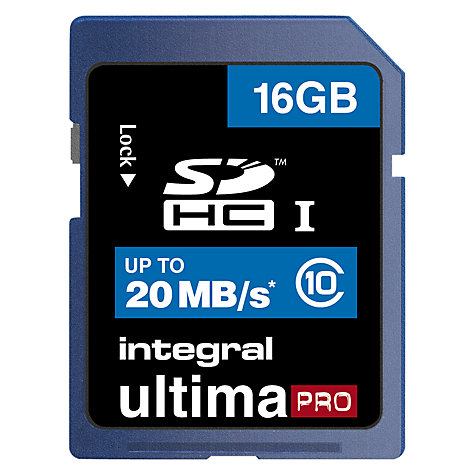 Buy Integral 16GB, Class 10 SDHC Memory Card, up to 20MB/s Online at johnlewis.com