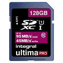 Buy Integral Ultimapro 128GB Class 10 UHS-I SDXC Memory Card, up to 95MB/s read, 45MB/s write Online at johnlewis.com