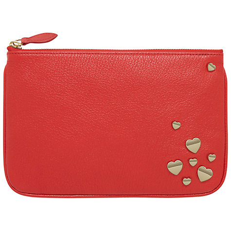 Buy Mulberry Leather Zip Pouch, Valentines Red Online at johnlewis.com