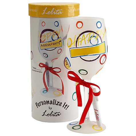 "Buy Lolita Personalize ""Happy"" Wine Glass Online at johnlewis.com"