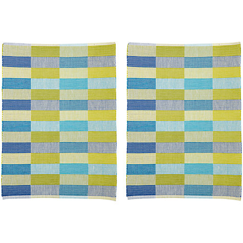 Buy John Lewis Multicheck Placemats, Set of 2, Lime Online at johnlewis.com