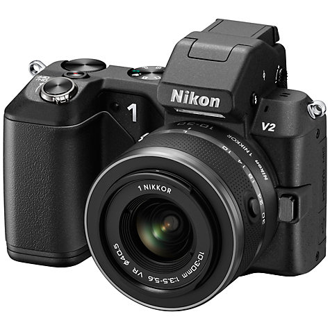 "Buy Nikon 1 V2 Compact System Camera with 10-30mm & 30-110mm Lenses, HD 1080p, 14.2MP, 3"" Screen, Black Online at johnlewis.com"