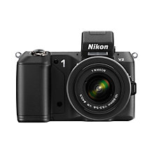 "Buy Nikon 1 V2 Compact System Camera with 10-30mm Lens, HD 1080p, 14.2MP, 3"" LCD Screen, Black with 16GB + 8GB Memory Card Online at johnlewis.com"
