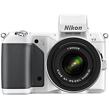 "Buy Nikon 1 V2 Compact System Camera with 10-30mm Lens, HD 1080p, 14.2MP, 3"" LCD Screen, White Online at johnlewis.com"