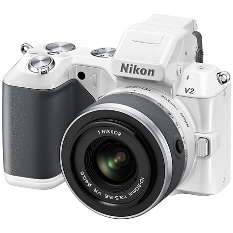 "Buy Nikon 1 V2 Compact System Camera with 10-30mm & 30-110mm Lenses, HD 1080p, 14.2MP, 3"" Screen, White Online at johnlewis.com"