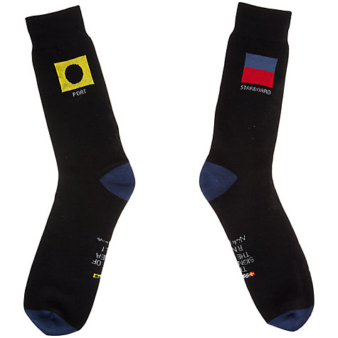 Buy Nick Munro RNLI The Signs of the Sea Flag Socks, One Size, Black Online at johnlewis.com