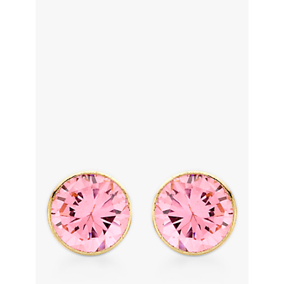 John Lewis 9ct Gold Round Cubic Zirconia Stud Earrings, Pink