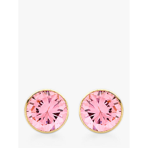 Buy John Lewis 9ct Gold Round Cubic Zirconia Stud Earrings, Pink Online at johnlewis.com