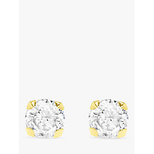 Buy IBB 9ct Gold Round Cubic Zirconia Stud Earrings Online at johnlewis.com